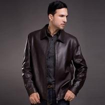 Jaqueta Importada G- Homem, Luxuosa E Elegante Couro Marrom