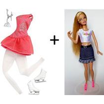 Roupa Barbie Patinadora Original + Barbie 1998 + Sapato