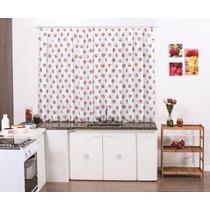 Cortina Cozinha Morango 2mx1,7m Tecido Voal - Varão Simples
