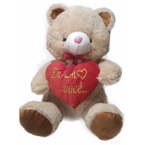 Bichinho Pelúcia Coração Ursinho Eu Amo Você Namorados 40cm