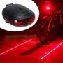 Lanterna Traseira Bike 5 Leds, 2 Ciclovias Virtuais Laser