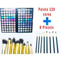 Kit Maquiagem Paleta Com 120 Cores E 8 Pinceis De Maquiagem