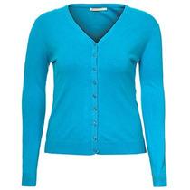 Cardigan Plus Size Básico Feminino Mooncity - Turquesa