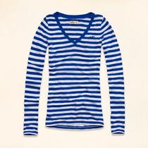 Camiseta Blusa Listrada Manga Comprida Hollister Feminina