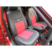 Capas Automotivas De Couro Courvin Fiesta Preto E Vermelho