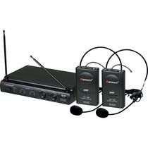 Microfone Headset Sem Fio Duplo Kru302 Preto #karsect