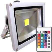 Refletor Super Led 10w Rgb Prova D´água Holofote Branco Puro