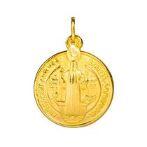 Pingente Em Prata Banhado A Ouro 18k Medalha São Bento