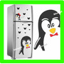 Adesivo Decorativo Geladeira Pinguim Grande + 20 Borboletas