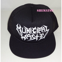 Boné Trucker Cap Tela Municipal Waste Trash Metal