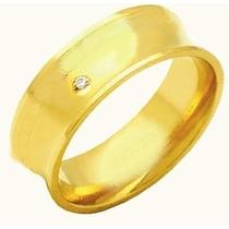 Aliança Concava Prata Folhada A Ouro Com 1 Zirconia