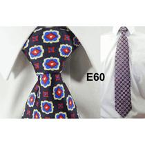 Gravata Vintage Azul 100% Seda Pura Estampa Flores E60