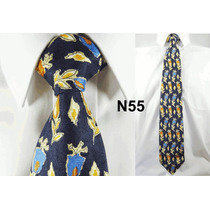Gravata Vintage Azul 100% Seda Pura Estampa Flores N55