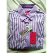Camisa Feminina Dudalina Original Roxa Branco Listrada N36