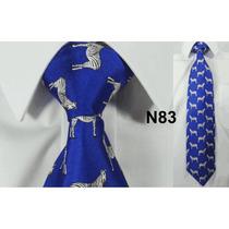 Gravata Vintage Azul 100% Seda Pura Estampa Zebra N83