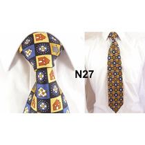 Gravata Vintage Azul Xadrez 100% Seda Pura Estampa Casa N27