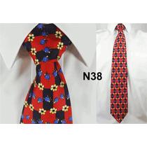 Gravata Vintage Vermelha 100% Seda Pura Estampa Joaninha N38