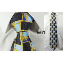 Gravata Vintage Azul 100% Seda Pura Estampa Aquitetura E61