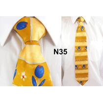 Gravata Vintage Bege 100% Seda Pura Estampa Flores N35