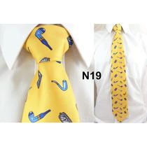 Gravata Vintage Amarela 100% Seda Pura Estampa Cachimbo N19