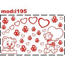 Adesivo I195 Urso Ursinho Coração Quarto Menina Quarto Bebê