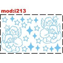 Adesivo I213 Anjos Anjinho Estrelas Céu Quarto Menino Bebê