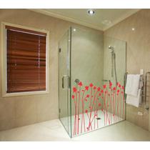Adesivo Decorativo De Parede Banheiro Box Floral Chuveiro