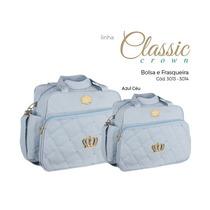 Kit De Bolsas Bebê Maternidade Azul Claro Coroa