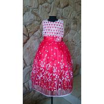 Vestido Infantil Festa/florista Rendas Vermelho