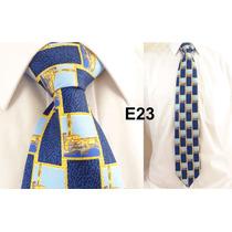 Gravata Vintage Azul 100% Seda Pura Linda Arquitetura E23