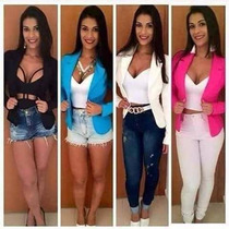 Blazer Feminino Colorido Jaqueta Casaco Fashion Frete Grátis