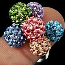 Jóias Ativ55- Esferas C/cristais Coloridos- Anel Prata 925