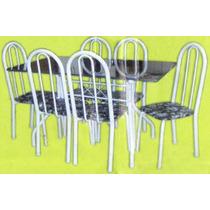 Conjunto De Mesa Com Tampo De Pedra Granitada Com 6 Cadeiras