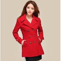 Sobretudo Importado Eg Casaco Luxuoso Elegante, Lã, Vermelho