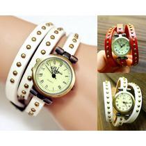 Relógio Feminino Vintage Pulseiras De Couro Com Rebites