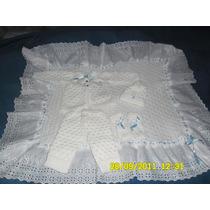 Conjunto De Batizado Manta+casaquinho+calça+sapatinho+touca
