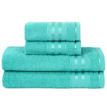 Jogo De Banho 4 Peças Toalhas 360 G/m² Delicata Azul Glacial
