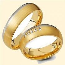 Par De Alianças De Ouro 18k Com Diamantes Jr Joalheiro.