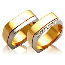 Alianças De Ouro 18k Com Diamante J R.
