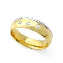 Alianças De Ouro E Ouro Branco 18k Com Diamantes J R.