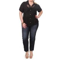 Camisa Em Renda E Chiffon Preto Plus Size Moda Maior Tam 52