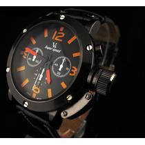 Relógio V6 De Pulso Militar Laranja Preto Com Pulseira Couro