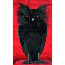 Coruja Negra Gótica Pia E Acende Os Olhos Majestic Halloween