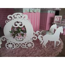 Carruagem Princesas Cinderela Decoração Festa Mdf Cru