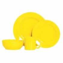 Aparelho De Jantar Cerâmica Standard 16 Peças Amarelo Lima