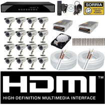 Kit Cftv 16 Cameras Sony Dvr 16 Canais Plat Intelbras Hd 1tb