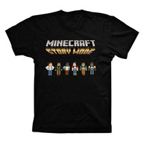 Camiseta Preta Algodão Minecraft Story Mode Steve Enderman