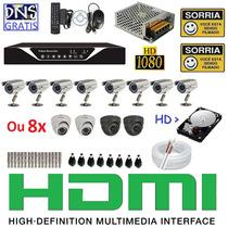 Kit 8 Cameras De Segurança Infra Dvr 8 Canais D1 960h Hd 1tb