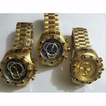 Relógio Masculino Dourado Na Caixa
