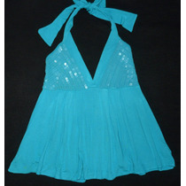 Blusa Azul Paetês M - Myth